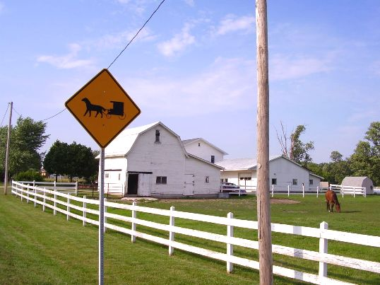 amish buggy road sign