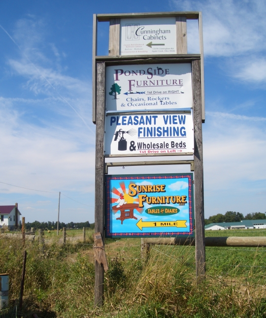 amish furniture signs