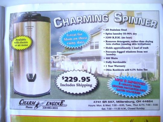 amish laundry spinning machine