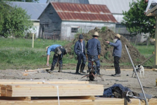 Amish Men Building Job