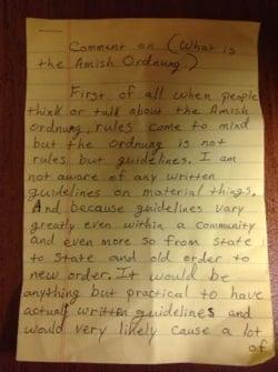 Amish Ordnung Response