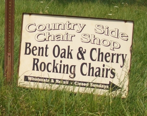 amish rocking chairs sign