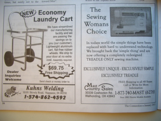 amish sewing machine ad