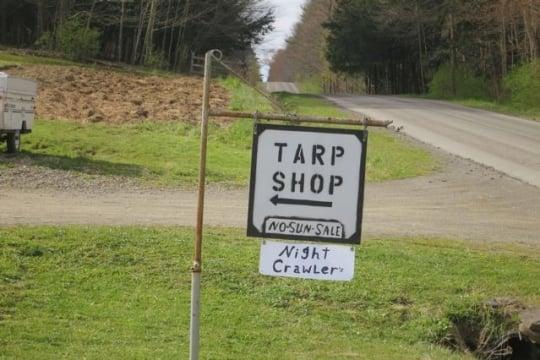 Amish Tarp Shop Sign