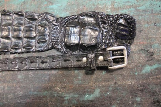 Belt and Black Exotic Leather Skin