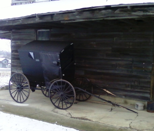 damaged amish buggy