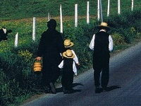 Amish family on walk to church