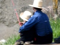 Father and son with fishing pole