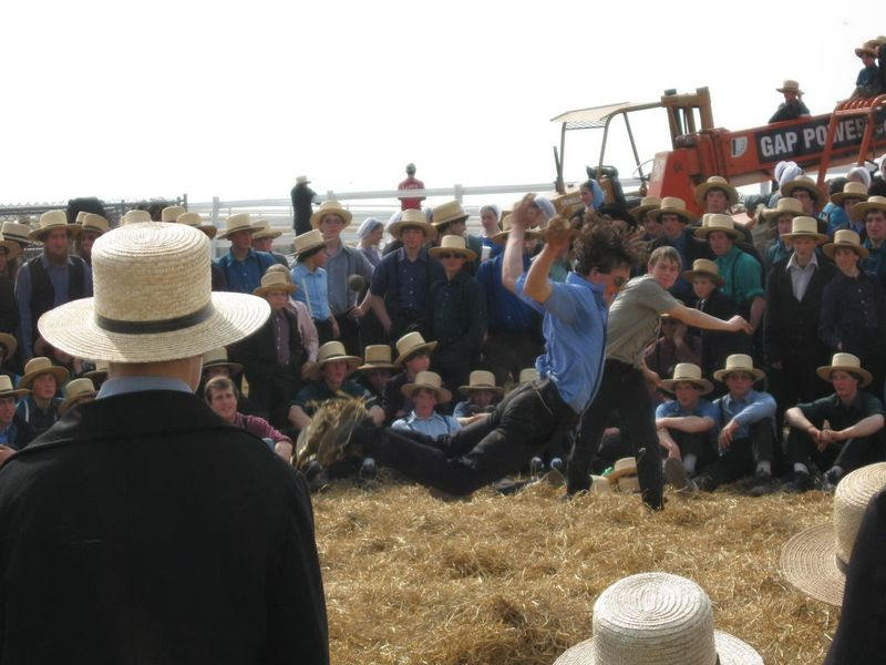 Amish cornerball battle