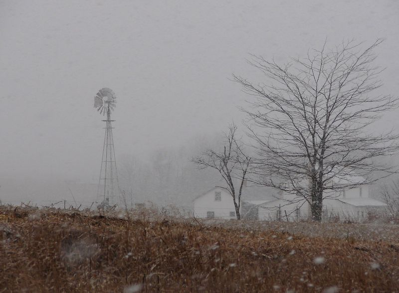 Amish farm snow
