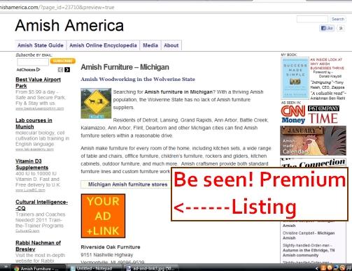 premium listing amish furniture