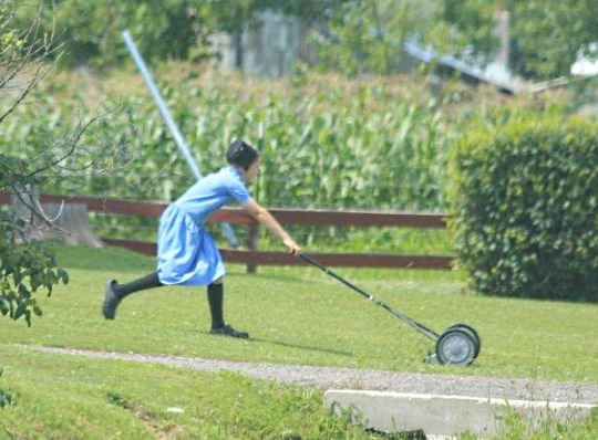 Push Reel Mower Amish Girl