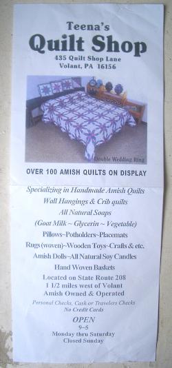 teenas quilt shop flyer
