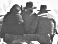 Three Amish huddled on carriage