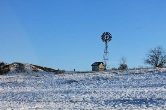 Windmill In Snow