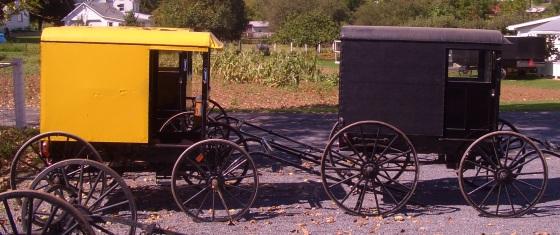 yellow amish buggy